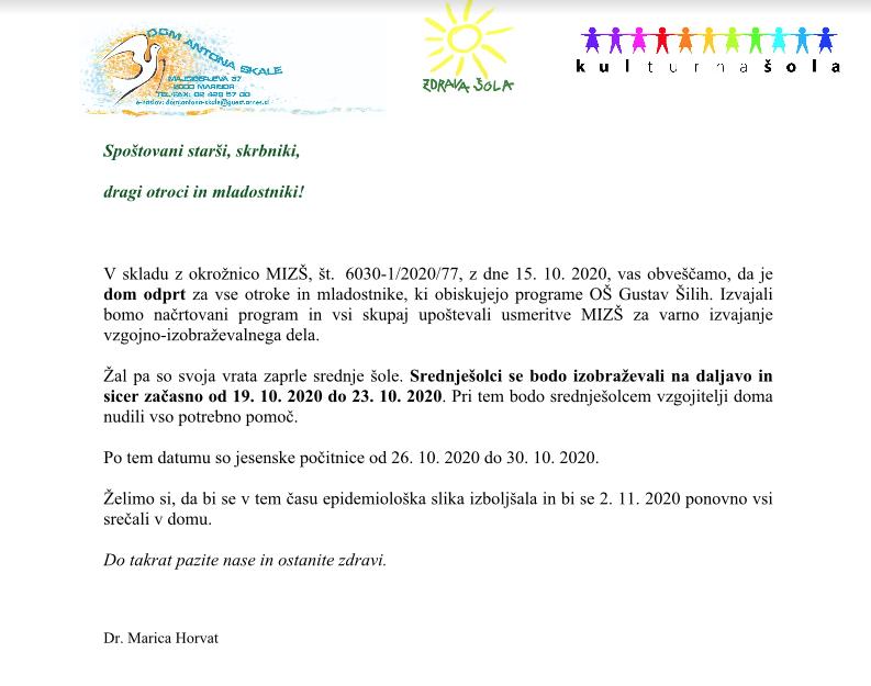 Obvestilo – Dom Antona Skale Maribor je odprt